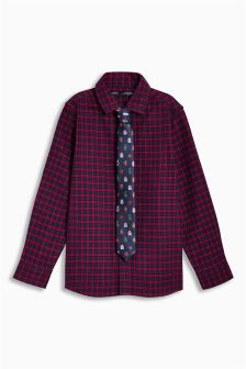 Long Sleeve Tartan Shirt And Tie (3-16yrs)