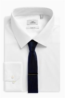 Shirt With Navy Tie And Tie Clip Set