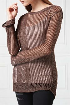 Pointelle Sparkle Cable Sweater