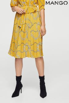 Mango Ochre Chain Printed Skirt