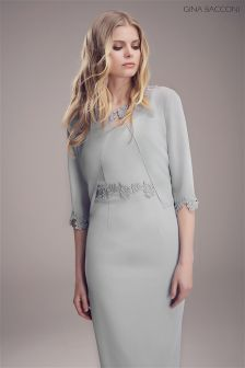 Gina Bacconi Grey Dress And Jacket With Guipure Trim