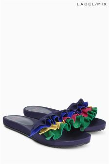 Mix/J.Won Suede Flat Ruffle Slider