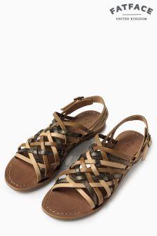 Fat Face Tan Mattingley Metallic Sandals