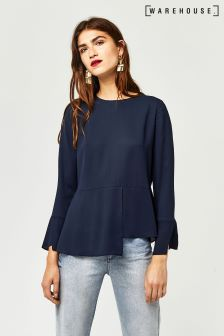 Warehouse Navy Peplum Hem Top