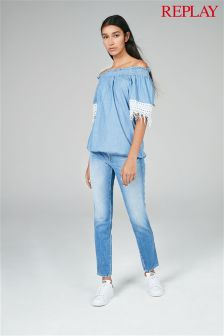 Replay® Mid Wash Slim Cropped Jean
