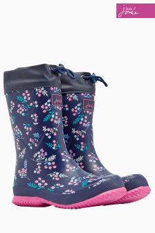 Joules Navy Ditsy Fleece Lined Welly