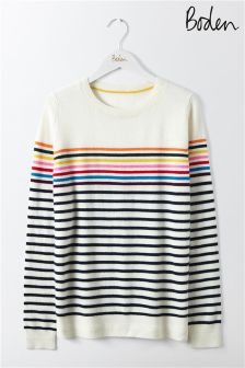 Boden Grey Multi Stripe Cashmere Crew Neck Jumper