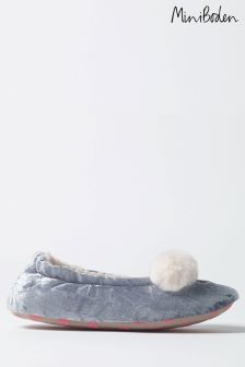 Boden Blue Velvet Bear Slipper
