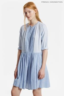 French Connection Blue Striped Nuru Schiffley Cotton Dress