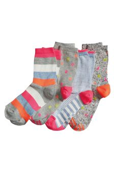 Neon Pattern Ankle Socks Four Pack