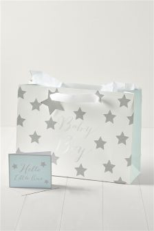 Glitter Baby Boy Bag Card Tissue Set