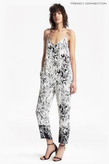 French Connection White Copley Crepe Strippy Jumpsuit