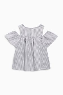 Stripe Cold Shoulder Top (3-16yrs)