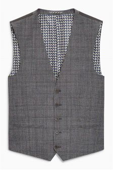 Textured Check Slim Fit Suit: Waistcoat