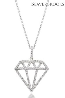 Beaverbrooks Silver Cubic Zirconia Diamond Shaped Pendant