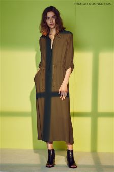 French Connection Dark Olive Green Draped Crepe Shirt Dress