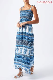 Monsoon Blue Mia Print Pack Bandeau Maxi Dress