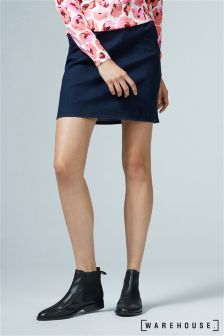 Warehouse Indigo Clean A Line Denim Skirt