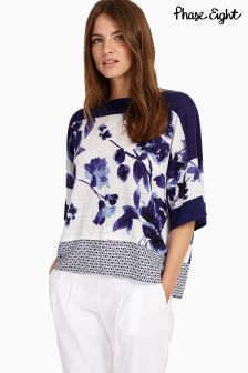Phase Eight Blue/White Mollie Mix Print Knit