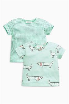 Dog Print T-Shirts Two Pack (0mths-2yrs)