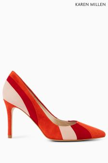 Karen Millen Red Suede Stripe Court