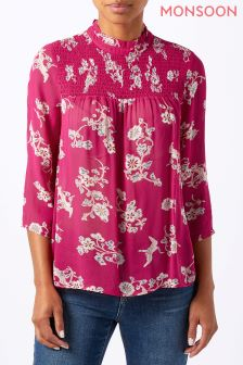 Monsoon Pink Yoshi Print Frill Top
