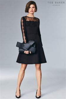 Ted Baker Black Sharlot Scallop Edge Dress