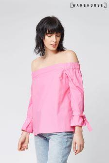 Warehouse Pink Tie Strap Bardot Top