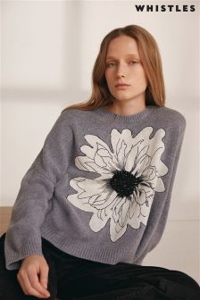 Whistles Grey Flower Print Knit Jumper
