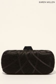 Karen Millen Black Satin And Lace Box Clutch