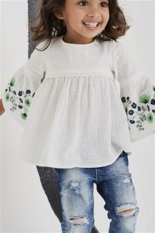 Embroidered Sleeve Blouse (3mths-6yrs)