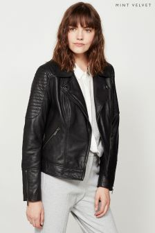 Mint Velvet Black Motor Stitch Washed Leather Biker