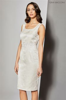 Gina Bacconi Cream Artex Metallic Jacquard Beaded Dress