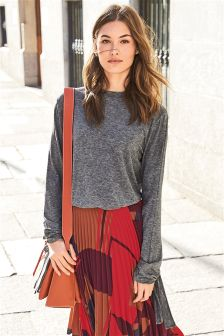 Tie Cuff Knit Look Top