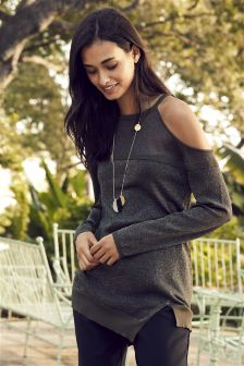 Sparkle Cold Shoulder Sweater