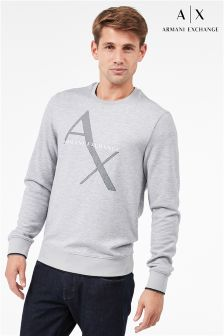Armani Exchange Grey Crew Neck Logo Sweatshirt