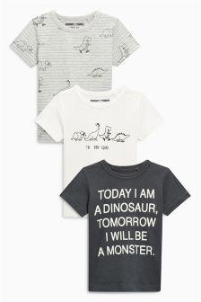 Short Sleeve Dinosaur T-Shirts Three Pack (3mths-6yrs)