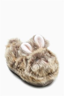 Faux Fur Bunny Slippers (Younger Girls)