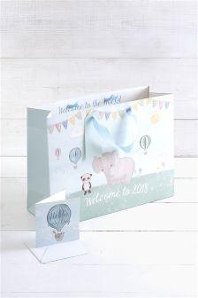 Baby Boy Animal 2018 Bag, Card And Tissue Set