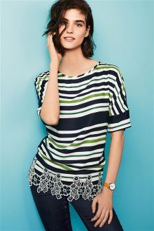 Stripe Top With Lace Trim