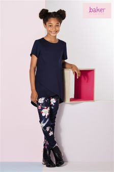 Baker By Ted Baker Navy Cross Over Top And Floral Print Legging