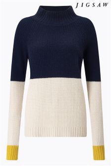 Jigsaw Blue Colourblock Cashmere Jumper