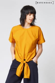 Warehouse Yellow Tie Front Cotton Top