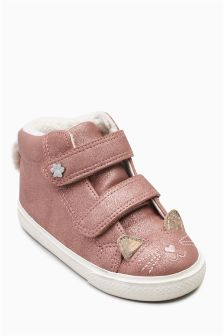 Cat Face High Top Trainers (Younger Girls)