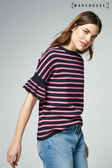 Warehouse Pink/Navy Stripe Frill Sleeve T-Shirt