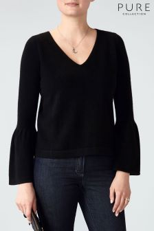 Pure Collection Black Flute Sleeve Cashmere Sweater