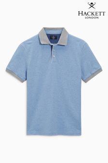 Hackett Blue Print Under Collar Polo