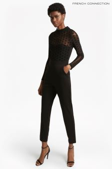 French Connection Black Lea Mesh Jersey Jumpsuit