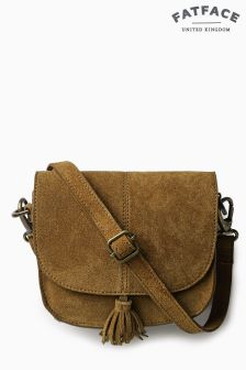 Fat Face Tan Suede Mini Cross Body Bag