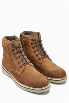 Waxed Suede Zip Boot